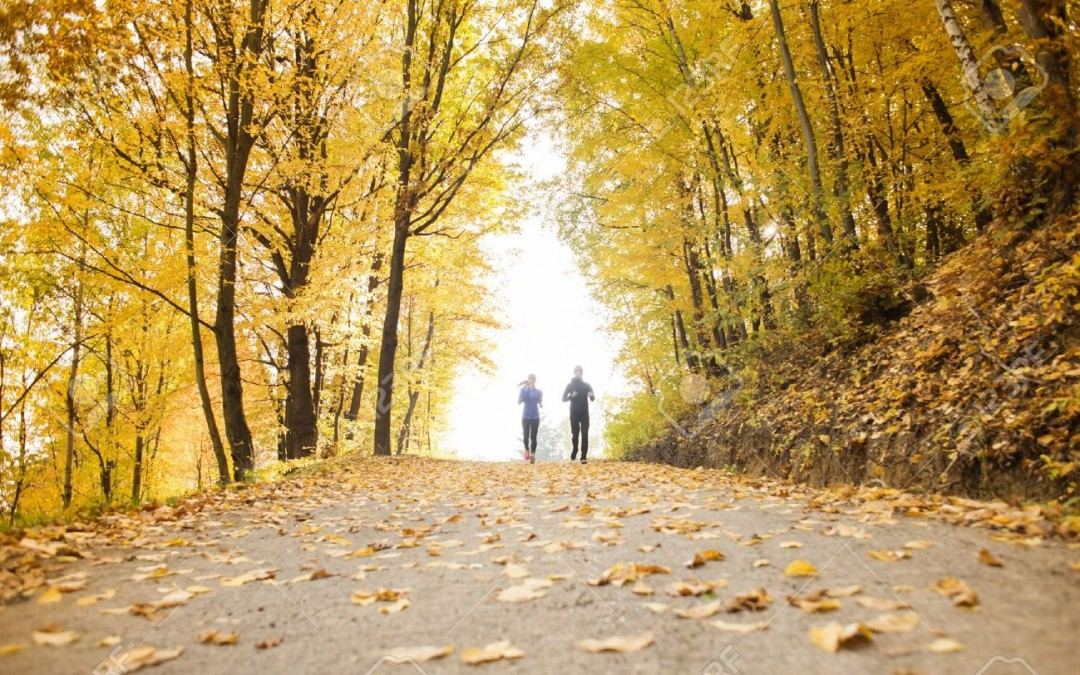 24065035-Young-running-couple-jogging-in-autumn-nature-Stock-Photo